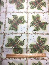 Vintage Cotton Fabric 50s 60s CUTE Retro NOVELTY Butterflies 35w 1yd