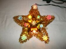 """Vintage Tinsel Gold Lighted Star Christmas Tree Topper 9"""""""