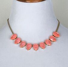 """J. Crew Teardrop Gemstone Neon Flame Gold Tone 20"""" Chain Adjustable New In Pouch"""