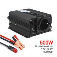 Auto 500W/1000W Spannungswandler DC 12V auf AC 230V Inverter Wechselrichter 2USB