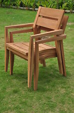 QTY 2 STACKING ARM CHAIR TEAK GARDEN OUTDOOR PATIO VELLORE DINING CAPTAIN POOL