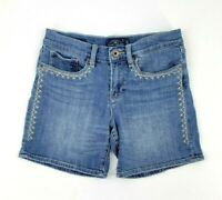 Lucky Brand The ROLL UP Denim Shorts Women's Size 2 Measures 28 x 6 Embroidered