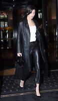 HOT Women's Genuine Leather Pure Soft Lambskin Long Overcoat Trench Coat Jacket