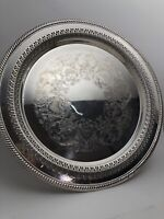 """Vintage Wm Rogers Filigree And Etched 12"""" Serving Tray"""