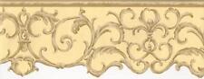 Wallpaper Border Waverly Beige & Tan Die Cut Scroll on Yellow