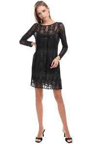 RRP €255 PINK MEMORIES Lace  Smock Dress Size 40 S See-Through Made in Italy