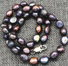 "Fashion 7-8MM black Cultured Pearl Baroque Necklace 18"" JN72"