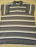 Ashworth Men's  XL  Striped Blue/White  Short Sleeve  Golf Polo Shirt  Logo  EUC