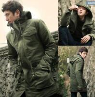 Mens Trench Hooded Parka Mid Long Coat Jacket Combat Warm Military Army Overcoat