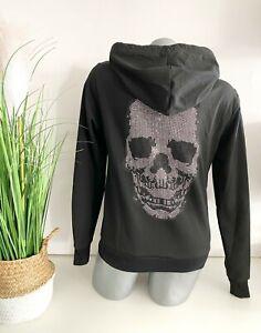 Italy Damen Jacke Sweat Sweatjacke Totenkopf Skull Strass