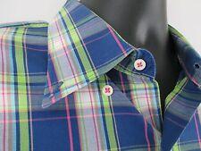 Peter Millar Shirt Blue Green Pink Oxford Plaid 100% Cotton Mens Short Size L