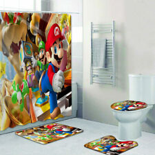 Super Mario Bros Bathroom Rugs Set 4PCS Shower Curtain Bath Mat Toilet Lid Cover
