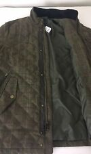 NWT Brooks Brothers Mens Quilted Moon Tweed Leather Trim Barn coat Jacket Large