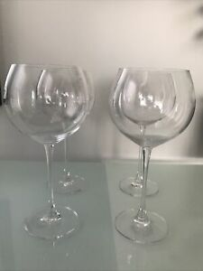 SET OF 4 SIGNED LENOX  CRYSTAL RED WINE BALLOON GLASSES