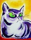 """Original """"The Observer"""" Cat 8 x 10 Abstract Acrylic Painting Samantha McLean"""