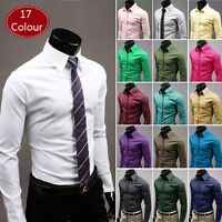Mens Formal Dress Shirts Long Sleeve Slim Fit Tops Business Blouse T-shirt White