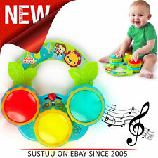Bright Starts Safari Beats Drum Kit│Baby/Kids Activity Toy With Fun Sounds+Light