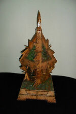 VINTAGE GREAT LAMP MADE FROM MATCHSTICKS AND COLOURED GLASS 41 cm high,