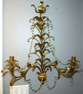 "Vintage Wall Sconce 2 Candle Holder Ornate deco 1950's 30"" x 26"" MCM Gild"