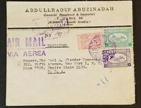 1949 Jeddah Saudi Arabia Empire State Building New York Commercial Airmail Cover