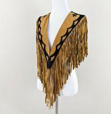 New listing Vintage Leather Fringe Shawl Shrug Poncho Western southwestern cowgirl rodeo