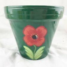 VINTAGE GREEN POPPY FLOWER  PLANT POT HOLDER PLANTER POTTERY
