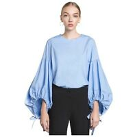 DA24 Blue Puffy Balloon Tie Sleeve Blouse Top