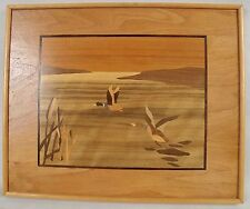 very decorative original marquetry panels of two ducks Mallard in Flight 1920/40