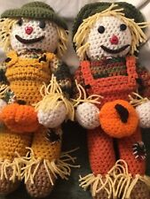 Set Of 2 Hand Crocheted With Yarn 17� Detailed Scarecrow Dolls - Fall Decoration