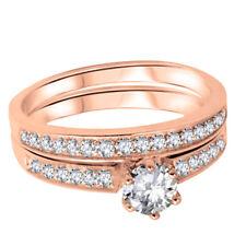 14k Rose Gold Brilliant Genuine Sterling Silver Wedding Engagement Band Ring Set