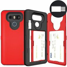 LG G6 Card Case, SKINU [USB type C] [RED] [Shockproof] [Dual Layer] [Car