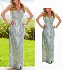 Glitzernes Abendkleid  Pailletten Maxi Kleid Gr. 44/46  silber 915575 Neu L