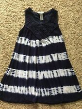 Girl's Size M 10 12 Guess Navy Blue and White Tie Dyed Sleeveless Tunic - EUC