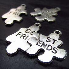 10Sets Best Friends Puzzle Pendants - Wholesale Silver Plated Charms - C1188