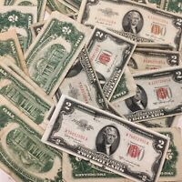 (1) $2 Red Seal Jefferson Dollar ☆Silver Certificate Old Estate Money 1953 1963