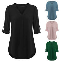 Women Long Roll-Up Sleeve Tops Casual V Neck Layered T-Shirt Loose Blouse Tunic