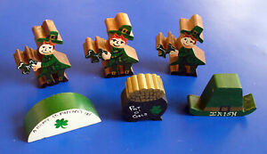 MINIATURE FIGURINE 6 PC Vintage St Patrick LEPRECHAUNS Pot Gold HAT SHAMROCKS