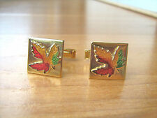 Vintage cufflinks enamel maple leaf by Canadian Enco