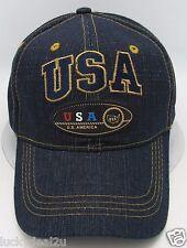Usa Ball Cap Hat Us United States American Flag Old Glory Stars Stripes Denim