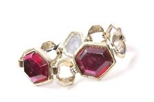 Bracelet with Magenta Gems (S575) Vintage Style Ladies Gold Asymmetrical Chain