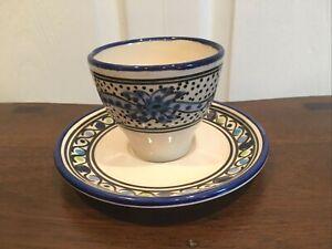 GUC Le Souk Ceramique Small Cup Saucer Aqua Fish Tunisia Stoneware No Handle