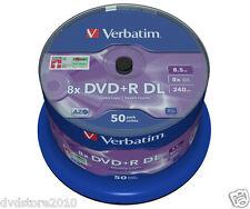 50 - DVD +R VERGINI 100 % VERBATIM DL DUAL LAYER 8.5 GB