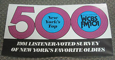 ORIGINAL WCBS-FM MUSIC RADIO NY TOP 500 OF ALL TIME OLDIES SURVEY 1991 Edition