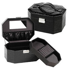 Black Faux Leather Jewellery Vanity Trinkets Case Storage Gift Box With Mirror