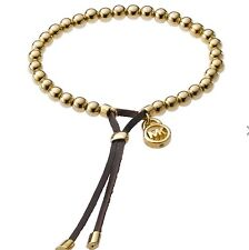 Michael Kors Beaded Brilliance Mini Lock Mk Gold Bracelet With Case.