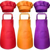 Kids Chef Hat Apron Set, Boys Girls Aprons for Kids