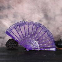 Chinese Vintage Floral Lace Silk Cloth Folding Hand Held Fan Dance Wedding Party