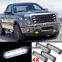 4X 6 LED White Emergency Hazard Warning Flash Strobe Beacon Caution Light Bar#12
