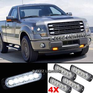 4X 6 LED White Emergency Hazard Warning Flash Strobe Beacon Caution Light Bar#04