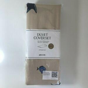Ocean whales kids single duvet set H&M beige 100% organic cotton 135 x 200cm sea